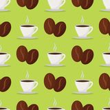 Restaurant de conception de nourriture de fond de modèle de boissons de vecteur de haricots de tasses de café, menu de café et él illustration stock