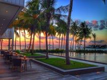 Restaurant de coucher du soleil Photo stock