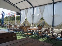Restaurant in de haven van Donau, drobeta-Turnu Severin, Roemenië stock foto