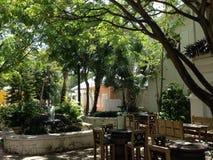 Restaurant de la paume trois de la République Dominicaine de Punta Cana photographie stock libre de droits
