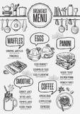 Restaurant de petit déjeuner de menu, placemat de calibre de nourriture illustration libre de droits