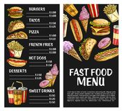 Restaurant de prêt-à-manger d'affiche de menu de vecteur d'aliments de préparation rapide Illustration Stock
