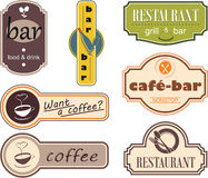 Restaurant decor sign. Seven objects associated to the restaurant signs Royalty Free Stock Photos