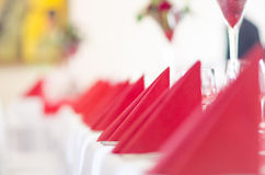Restaurant decorated with the red napkins. Restaurant decorated with red napkins Stock Photos