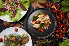 Restaurant delicious meals assortment gourmet. Restaurant delicious meals assortment. wide dish choice. lifestyle of gourmet Stock Photos