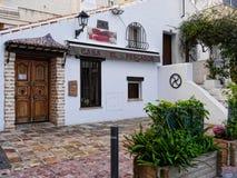 Restaurant in der ruhigen Ecke im November in Marbella Andalusien Spanien Stockfotos
