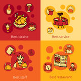 Restaurant design concept 4 flat icons Stock Photos