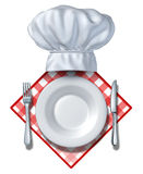 Restaurant Design Element. With a plate and chef hat and fork with  knife on a blank area for your text and white background on a table cloth for dinners and Stock Image
