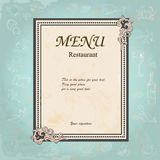 Restaurant  Design with Old Floral Frame for Royalty Free Stock Photography