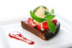 Restaurant dessert - brownie cake with ice cream Royalty Free Stock Photography