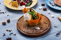 Restaurant dessert. Ice cream scoopes in waffle bowl Royalty Free Stock Image