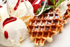 Restaurant dessert with waffles and ice-cream Royalty Free Stock Image