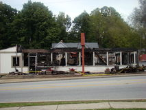 Restaurant destroyed by major fire Royalty Free Stock Photography