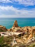 Restaurant dichtbij het overzees, Algarve Stock Afbeelding