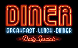 Restaurant Diner Neon Sign. Restaurant Neon Sign Retro Diner Vintage Breakfast Lunch Dinner Daily Specials 24 hours stock photography