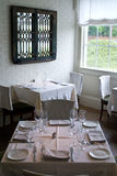 Restaurant dining room. With bright window royalty free stock image