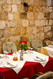 Restaurant dining table. Table in a restaurant ready for silver service dining Royalty Free Stock Images
