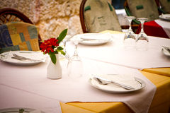 Restaurant dining table Stock Images