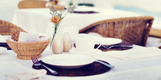 Restaurant Dining Table Set up Service Concept stock image