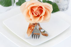 Restaurant Dinner Arrangement Set Plate with Silverware Orange R Royalty Free Stock Image