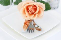 Free Restaurant Dinner Arrangement Set Plate With Silverware Orange R Royalty Free Stock Image - 71783606