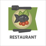 Restaurant dish banner. Fish with tomatoes and green salad. Leaves on the plate. Icon for fish dishes in cafe menu  on white. Fried fish with vegetables vector Royalty Free Stock Photos