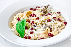 Restaurant dish,pasta with pomegranate seeds Stock Photography