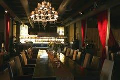 Restaurant in Donkere Toon stock afbeelding