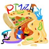Restaurant drôle de pizza avec deux chats et un personnel photo stock