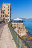 Restaurant at embankment of Ionian sea Stock Photography