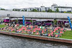 Restaurant on the embankment Spree. Stock Images
