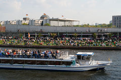 Restaurant on the embankment Spree and pleasure boat. BERLIN, GERMANY - APRIL 19, 2014: Restaurant on the embankment Spree and pleasure boat. Traditional Royalty Free Stock Images