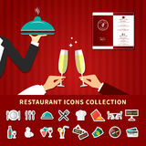 Restaurant Emoji Icon Set. Restaurant emoji icons collection background with flat cartoon images of waiter hands champagne glass and menu vector illustration Stock Images