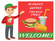 A restaurant employee fast food shows promotional poster. Royalty Free Stock Photo