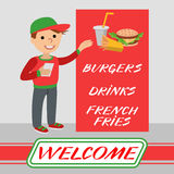 A restaurant employee fast food shows promotional poster. Royalty Free Stock Photos