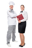 Restaurant employees in full length on white background. Isolated royalty free stock photo