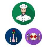 Restaurant en bar vlakke pictogrammen in vastgestelde inzameling voor ontwerp Genoegen, voedsel en alcohol het vectorweb van de s stock illustratie