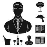 Restaurant en bar zwarte pictogrammen in vastgestelde inzameling voor ontwerp Genoegen, voedsel en alcohol het vectorweb van de s vector illustratie