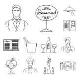 Restaurant en baroverzichtspictogrammen in vastgestelde inzameling voor ontwerp Genoegen, voedsel en alcohol het vectorweb van de royalty-vrije illustratie