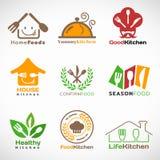 Restaurant en Huis het vector vastgestelde ontwerp van het keukenembleem Stock Foto's
