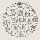Restaurant en van het voedseloverzicht geplaatste pictogrammen Stock Afbeelding