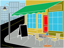 Restaurant entrance on street corner. Restaurant entrance on corner with table, chairs and sandwich near street Royalty Free Stock Photo
