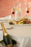 Restaurant entree with champagne Royalty Free Stock Photo