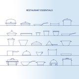 Restaurant essentials icon set. Minimalist kitchen dishes vector royalty free illustration