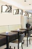 Restaurant européen dans des couleurs lumineuses Images libres de droits