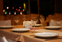 Restaurant evening table Stock Photos