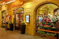 Restaurant exterior view in Prague. Stock Image