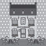 Restaurant facade. Background. Retro style vector illustration Stock Photo