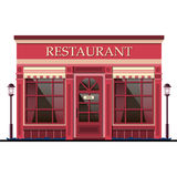 Restaurant facade. Vector illustration. Red restaurant facade isolated on white background Royalty Free Stock Photography