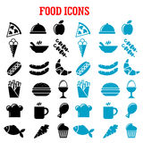 Restaurant and fast food flat icons Stock Photography